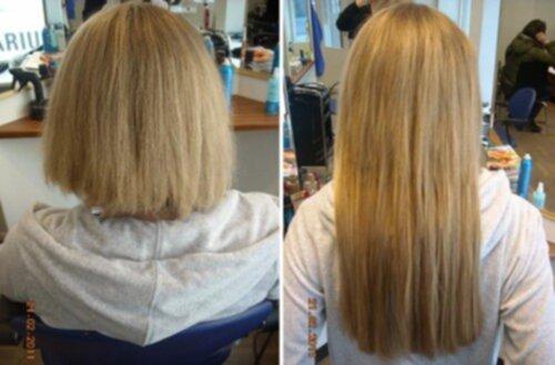hårförlängning före och efter