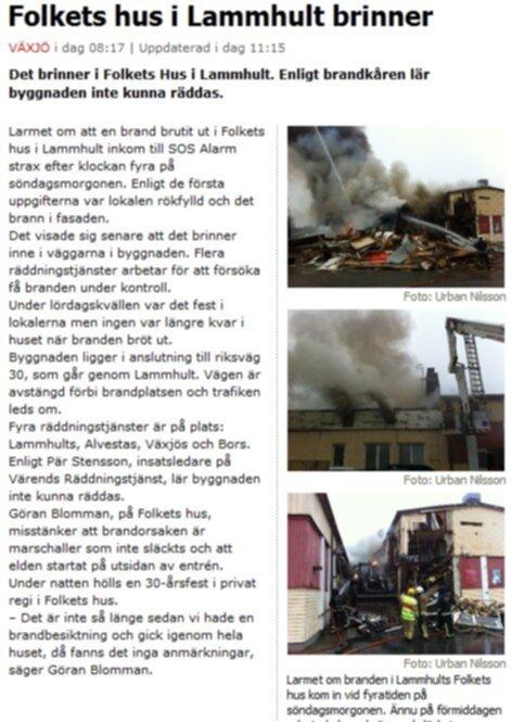 Folkets hus i Lammhult brinner